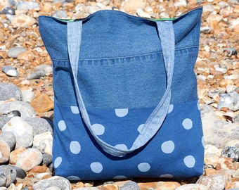 Miffy the reversible tote - Tote bag, Handmade, Reversible tote bag, Gift for her, Polka dot, Denim, Birds, Flowers