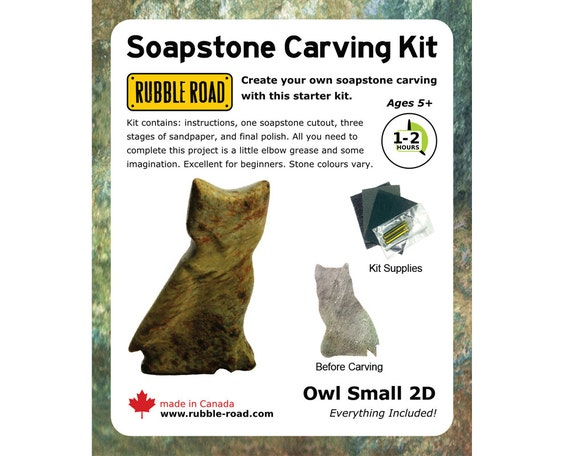 Owl soapstone kit small from rubbleroadsoapstone on etsy