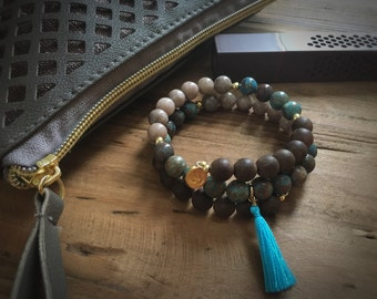 Lotus Root Reiki Infused Wire Wrap Mala