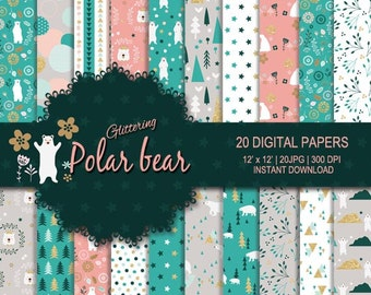 Glitter Polar bear digital paper, glitter digital paper, animal digital paper, Nursery printable, green digital paper, flower digital paper