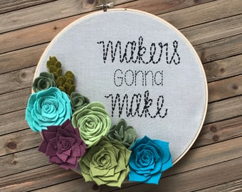 Embroidery Hoop with Felt Succulents