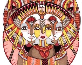Goddess Tribe Vibing Art Giclee Print - Signed & Numbered - 9x12