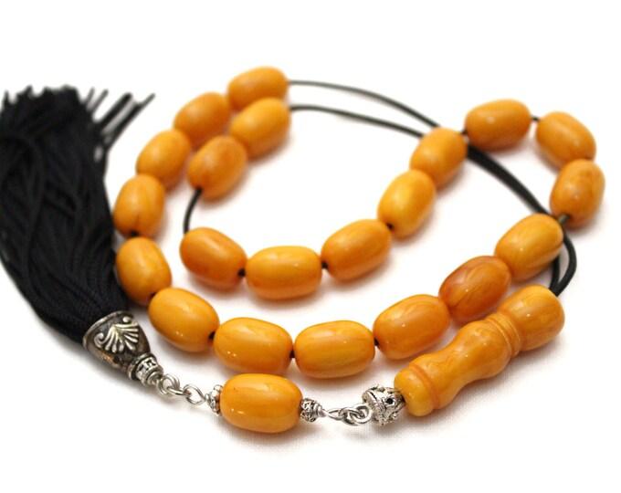 Worry Beads, Greek Komboloi, Kahraman Amber color, Barrel shape beads, Black Tassel, Tasbih, Relaxation, Meditation
