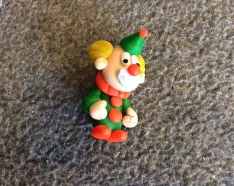 Sculpey Creepy Clown Lapel Pin, Vintage Handmade
