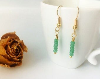 Green Agate Earrings | Gold Drop Earrings | Agate Earrings | Gold Earrings Dangle | Gemstone Jewelry | Greenery | Taurus Birthstone Earrings