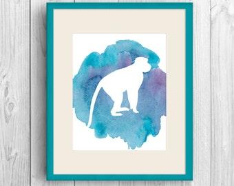 Monkey Art Print, Monkey Nursery Art, Monkey Prints, Jungle Wall Art, Nursery Decor, Cute Wall Art, Nursery Monkey, Illustrated Monkey,