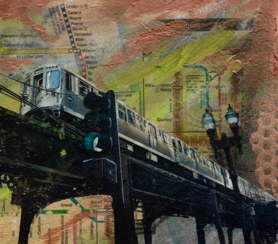 Elevated loop train mounted print cta painting l like this item publicscrutiny Gallery