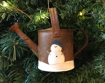 Handpainted Snowmen on Rusted Tin Mini Watering Can