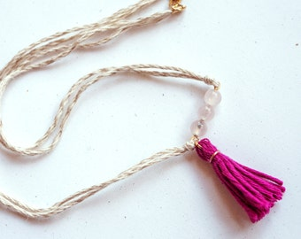 "Linen necklace with tassel - ""Ligeía"""