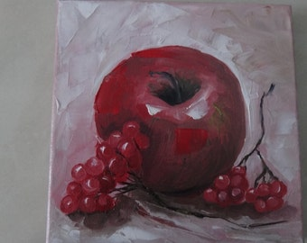Original oil pointing on canvas,,Red apple''