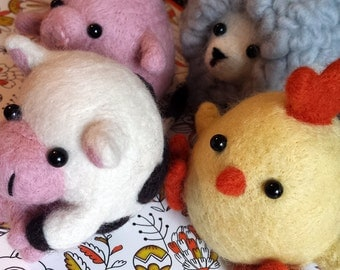 Farmyard Fatties - Set of 4 Needle Felted Plushies