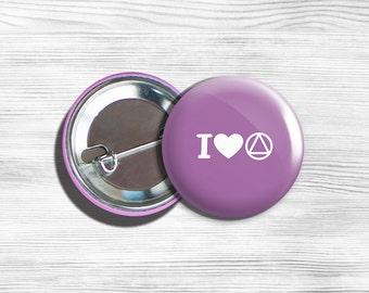 "Alcoholics Anonymous Inspirational ""I Love AA"" Pinback Button Pin Purple H 1.75"""