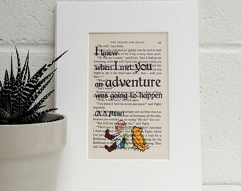 Winnie the Pooh Vintage Book Page Quote Print, Best Friend Gift, Travel Gift, Children's Literary Decor, Nursery Decor, Funny Quote Print