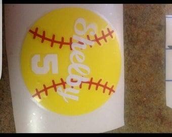 Softball Vinyl Decal, Softball Window Sticker, Fastpitch Softball Accessories, Helmet Stickers, Custom Softball Decal, Team Decals,