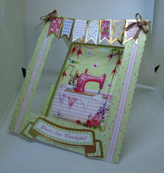 3D Female Birthday Stepper Card Sewing - luxury personalised unique quality special bespoke UK - Mum/Grandma/Daughter/Aunt/Niece/Sister