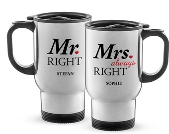 Set of 2 Thermos Cups with Print - Mr Right & Mrs Always Right - Personalised with Names