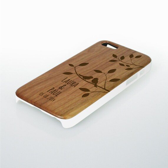 Wooden Case for iPhone5 - Personalised with Names and Date - Phone Case with Engraving