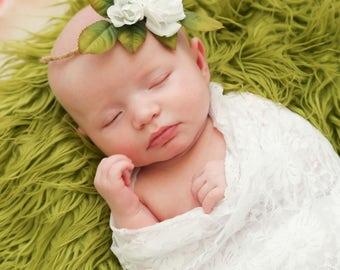 Newborn Tieback Headband - Newborn Photo Prop, Vintage Headband, Vintage Tieback, Newborn Halo, Newborn Crown, Organic, Cream, Beige,