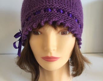 Purple Ultra Violet Knit Hat Mothers Day Gift, 1920s Luxury Knit Hat, Mulberry Beanie, Ribbon Tied Hat, Ladies Gift Gatsby, Winter Accessory