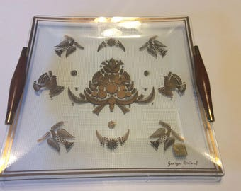 Vintage Georges Briard Glass Tray With Wooden Handles