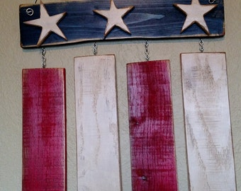 Rustic Wooden American Flag