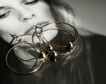 Gold Ball Hoop Earrings, gold statement earrings, golden ball earrings, hoop earrings
