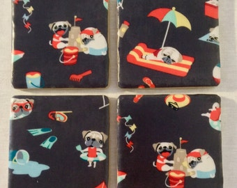 Pugs on the Beach Coaster Set - Perfect for Patio, Pool side or Porch