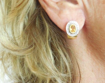 Gold, 18 CT, Citrine, diamond earrings