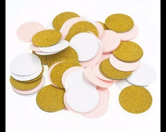 Gold, White and Pink Table Confetti Circles Pack of 100 Pieces