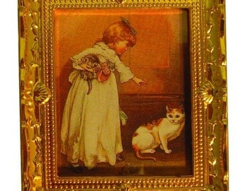 Table Victorian girl and cat R/A017
