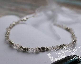 Wedding hair jewelry, rhinestones and crystals bridal wreath, bridal headband