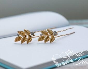1pcs Bridal hair pin, golden hair pin with rhinestones