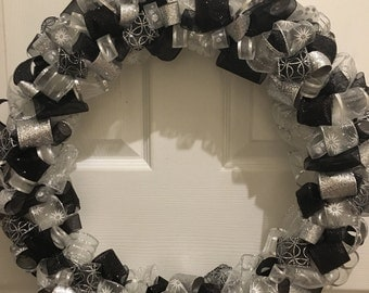 PRICE REDUCED--Black & Silver Ribbon Wreath--Ready to Ship