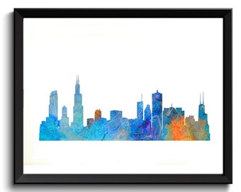 Printable Chicago Art - Chicago Illinois Art, State Art, Watercolor Chicago Art, Blue/Orange, Chicago Skyline Art, Cityscape Watercolor Art
