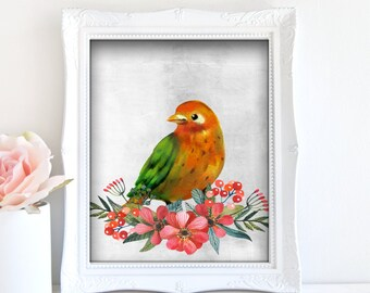 Orange Bird Painting - Bird Artwork, Printable Bird Art, Bird Home Decor, Bird Art Poster, Digital Bird Art, Nature Art Print, 3D Bird Art
