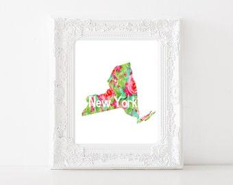 NY State Art - NY Floral Art, New York Floral, State Flower Art, New York Artwork, Ny Painting, Watercolor NY Art, Printable ny art