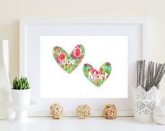 Custom Heart Art - Floral heart decor, heart artwork, shabby chic heart, digital heart, flower heart art, Valentines art, couples gift