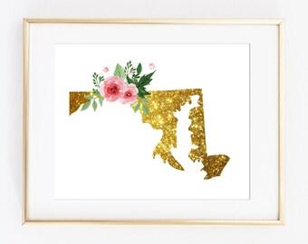 Maryland gold art, Maryland state art, maryland poster, maryland floral art, maryland printable, gold maryland print, maryland instant print