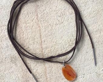 Carnelian Pendant Wrap Necklace