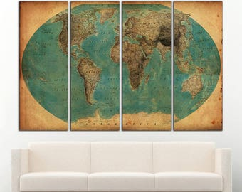 World map Old Antique World map canvas Wall Art Vintage world map Large Antique World map wall decor World map vintage Canvas Print Decor