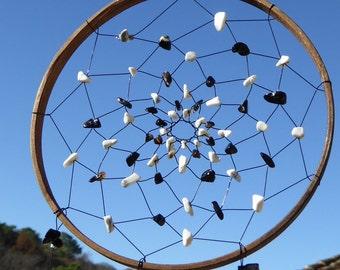Dreamcatcher bamboo YIN YANG, Tourmaline, Rock Crystal, gemstone object, zen garden
