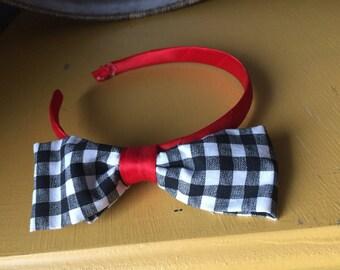 Black and white plaid and red headband. Girls headband