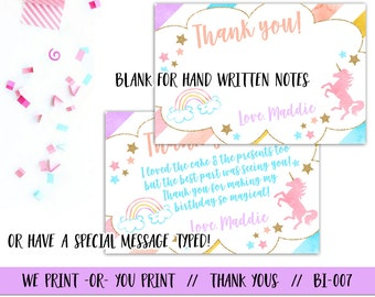 Unicorn Thank You Card, Unicorn Birthday Thank You, Unicorn Party Thank You, Magical Thank You, Magical Birthday, Rainbow Thank You