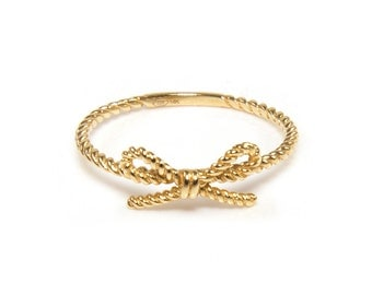 14K Solid Yellow Gold Ribbon Rope Ring - Stackable Finger Knuckle Midi Thumb Lace Love Band