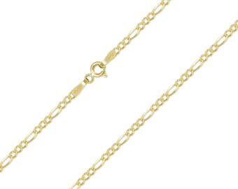 """10K Solid Yellow Gold Figaro Necklace Chain 1.5mm 16-24"""" - Polished Link"""