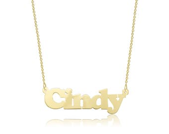 10K Solid Yellow Gold Personalized Custom Name Pendant Rolo Chain Necklace Set - Polished Alphabet Letter Charm