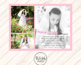 Picture Collage Communion Invitation, Pink Communion Invitation, First Holy Communion Picture Invitation, DIY Communion Printable