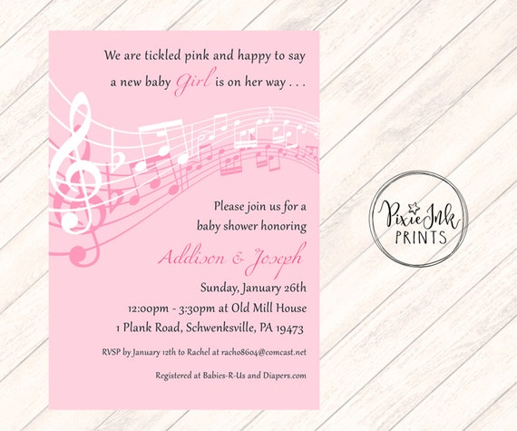 Pink Music Notes Baby Shower Invitation Musical
