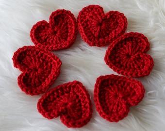 MEDIUM Crochet HEARTS RED set of 6