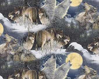 Full Moon and Wolves cotton Fabric bye the yard /David Textiles/Free shipping available/wolf fabric/quilting